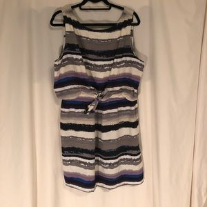 Daisy Fuentes Tie Front Printed Stripe Dress